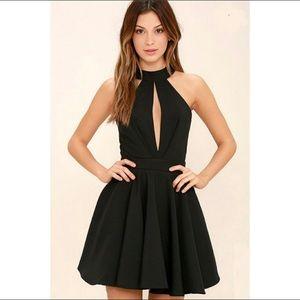 Lulu's Black Smile Sweetly Skater Halter Dress L